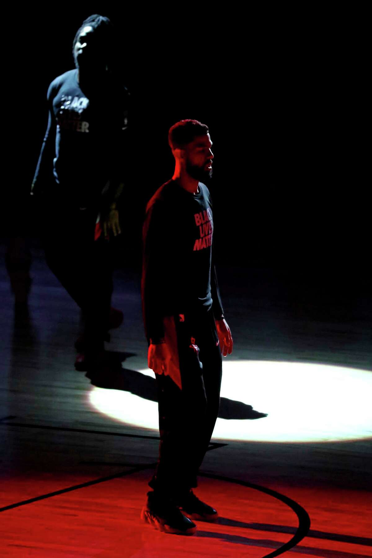 Houston Rockets guard Austin Rivers pauses before playing the Oklahoma City Thunder in Game 2 of an NBA basketball first-round playoff series, Thursday, Aug. 20, 2020, in Lake Buena Vista, Fla. (Kim Klement/Pool Photo via AP)
