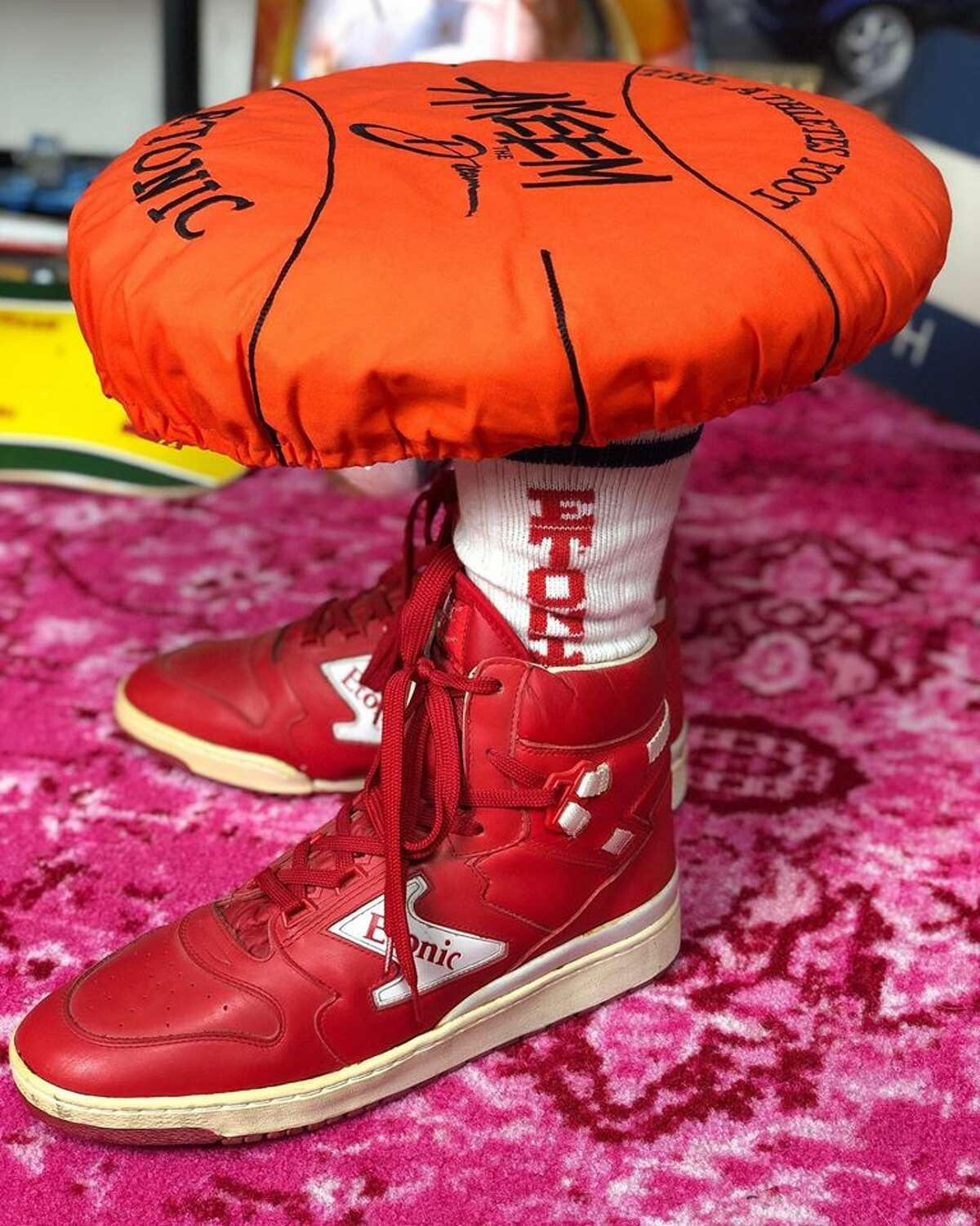 This stool was used as The Athlete's Foot in-store promotion for Etonic's Akeem the Dream sneakers in 1984.