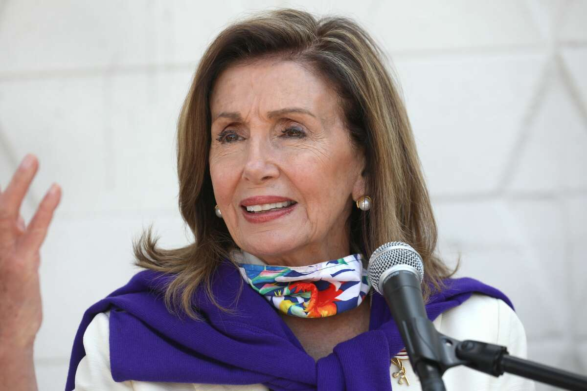 Nancy Pelosi has a press conference speaking against what the Trump administration is doing to the USPS at the Bayview post office on Tuesday, Aug. 18, 2020, in San Francisco, Calif.