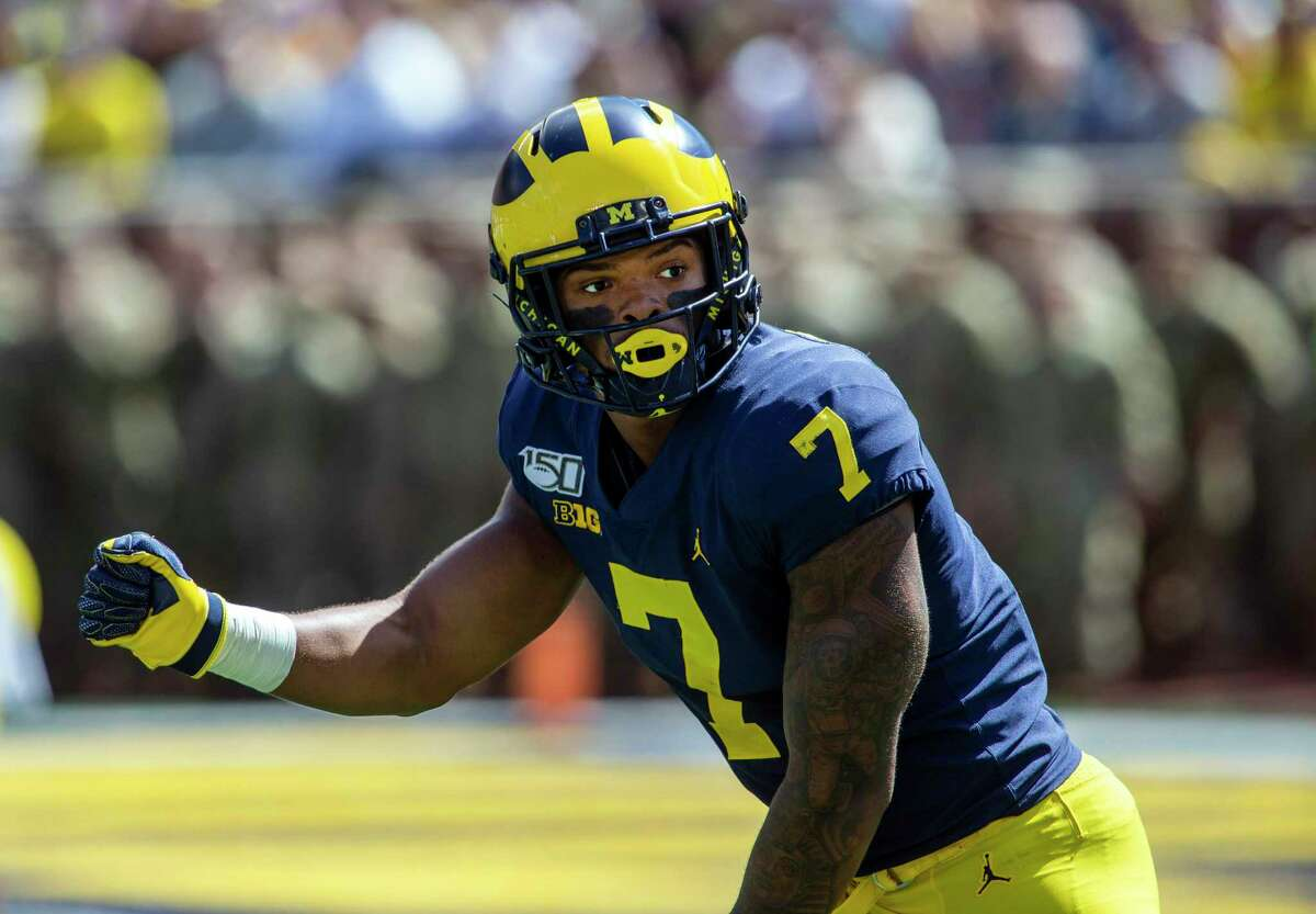 Michigan wide receiver Tarik Black (7) in action in the first quarter of an NCAA football game against Army in Ann Arbor, Mich., Saturday, Sept. 7, 2019. Michigan won 24-21 in double-overtime. (AP Photo/Tony Ding)