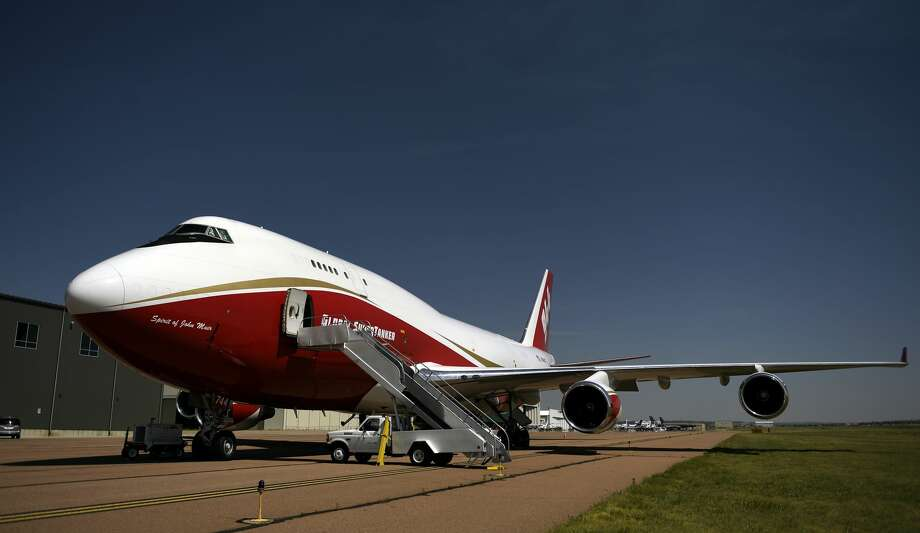 Global SuperTanker Services LLC's B747-400 firefighting Supertanker, the worlds largest firefighting plane sitting on the tarmac in Colorado Springs June 13, 2018 in Colorado Springs, Colorado. (Photo by Joe Amon/The Denver Post via Getty Images) Photo: Joe Amon/Denver Post Via Getty Images / Copyright - 2017 The Denver Post, MediaNews Group.