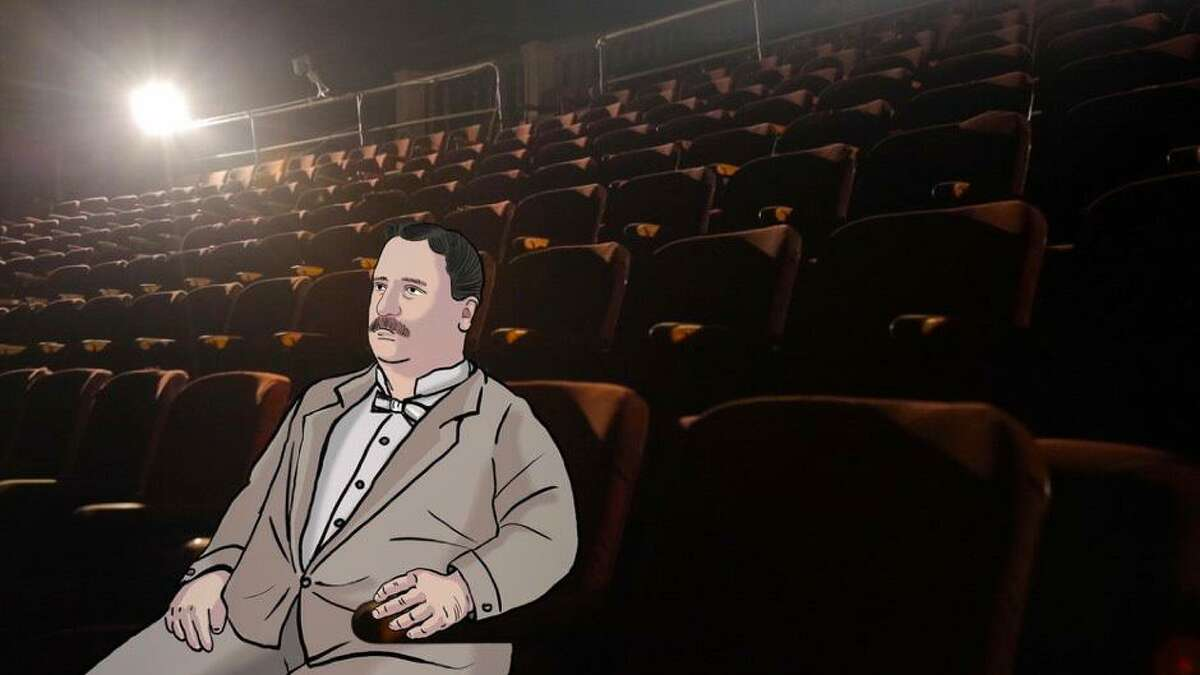 An animated depiction of Sylvester Poli in one of his movie theaters.