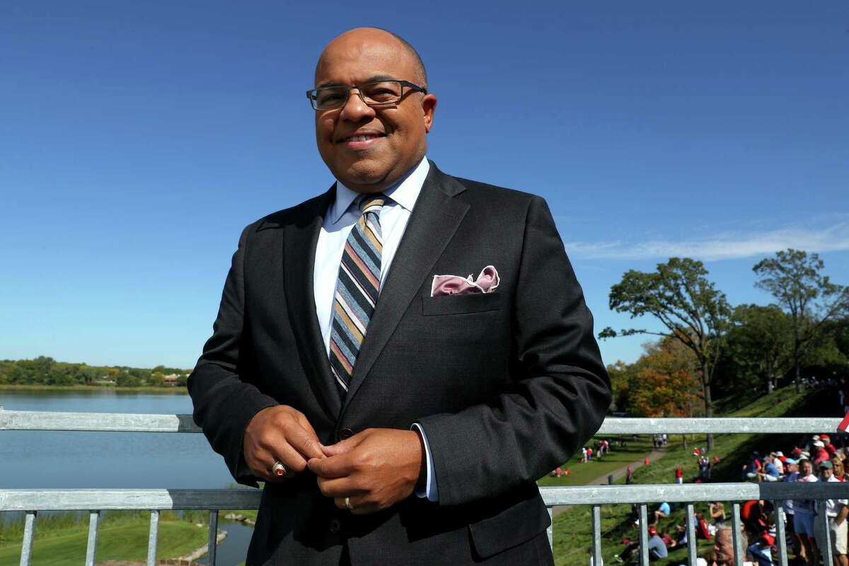 CHASKA, MN - OCTOBER 02: TV personality Mike Tirico looks on during singles matches of the 2016 Ryder Cup at Hazeltine National Golf Club on October 2, 2016 in Chaska, Minnesota. (Photo by Getty Images/Getty Images) ORG XMIT: 672195567