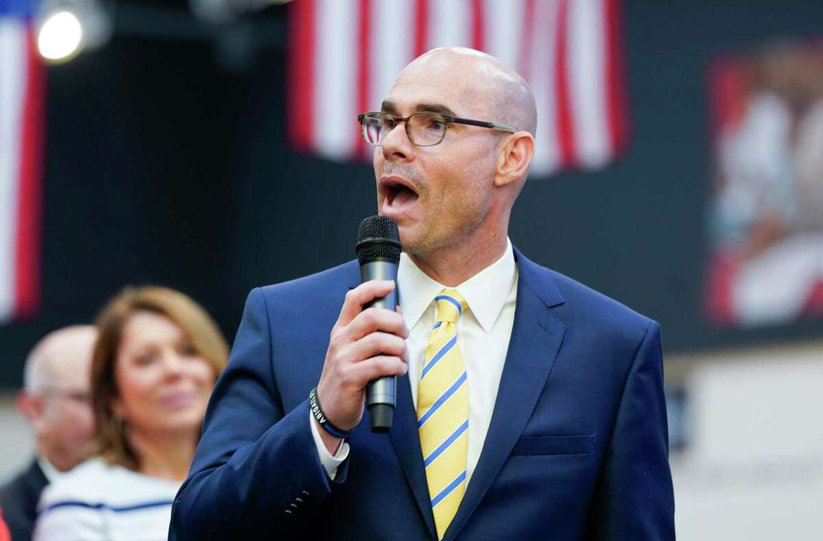 Texas Speaker of the Houston Dennis Bonnen talks to attendees during a signing of Harvey-related measures at Gallery Furniture on Thursday, June 13, 2019 in Houston.