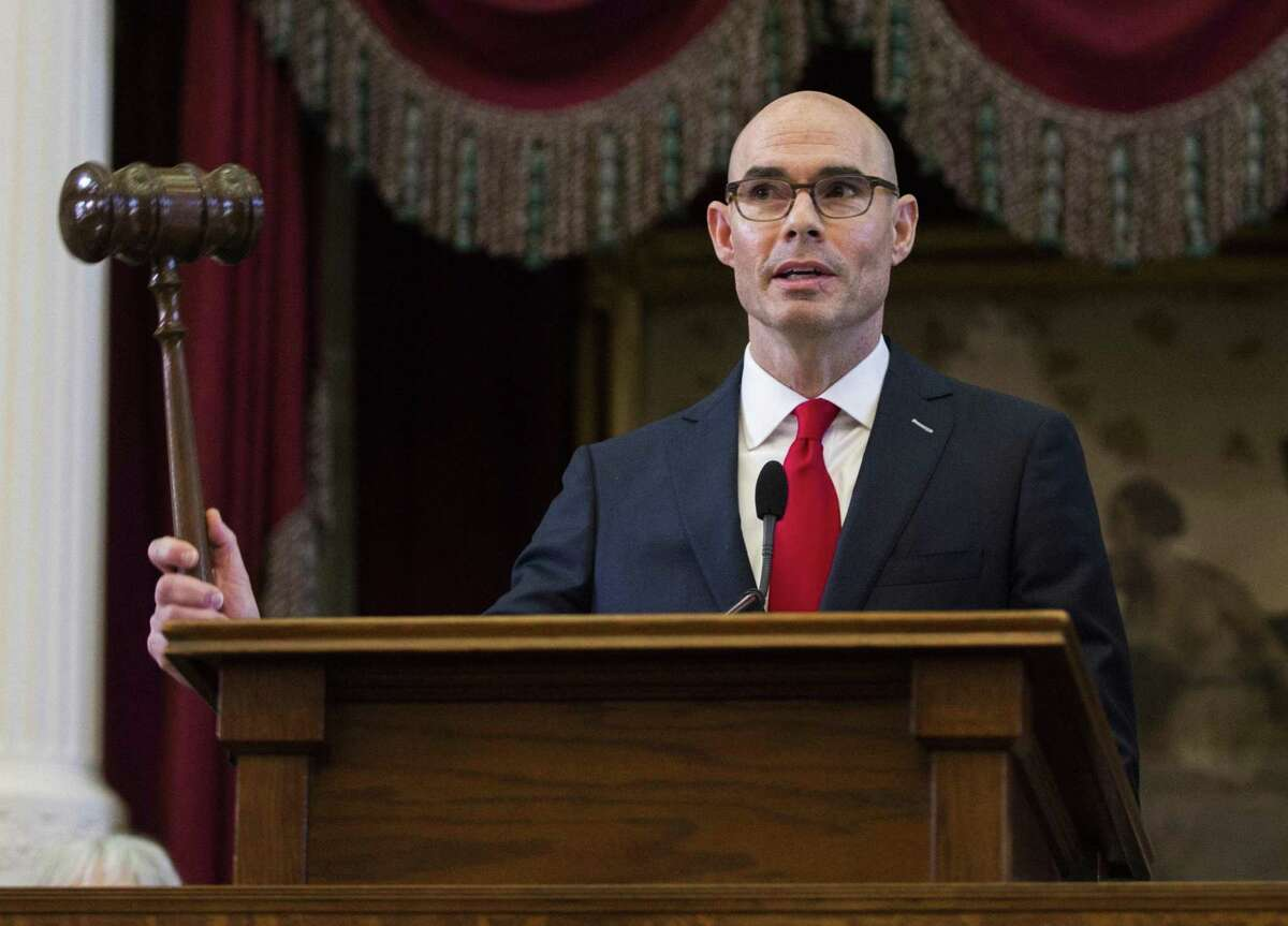 Speaker of the House Dennis Bonnen of Lake Jackson, Texas bangs the gavel on opening day of the 86th Texas legislature on Tuesday, January 8, 2019 at the Texas state Capitol, in Austin, Texas.