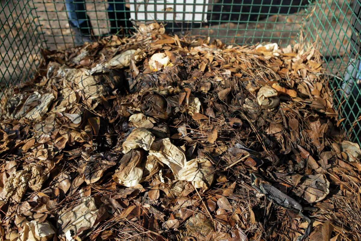 A maturing compost bin made of yard trimmings, leaves, kitchen scraps and coffee is shown at the township workshop hosted by the Montgomery County Master Gardeners Association, Saturday, Jan. 4, 2020.