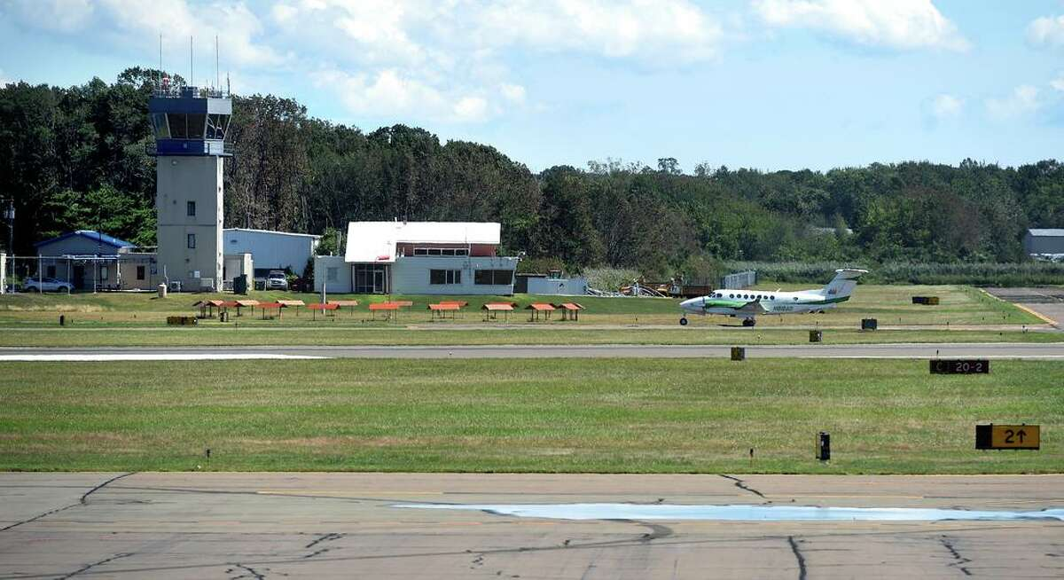 A small plane lands at Tweed New Haven Regional Airport in New Haven on August 20, 2020.