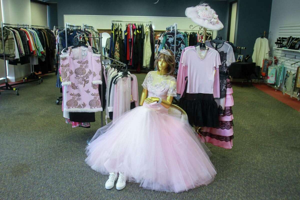 Eveningwear on display at the Salvation Army's annual chic boutique in Houston on August 18, 2020.