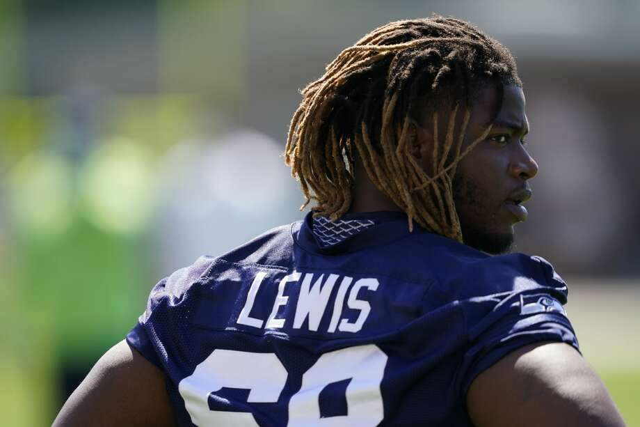 Seattle Seahawks guard Damien Lewis stands on the field during NFL football training camp, Friday, Aug. 14, 2020, in Renton, Wash. (AP Photo/Ted S. Warren) Photo: Ted S. Warren/AP / Copyright 2020 The Associated Press. All rights reserved.