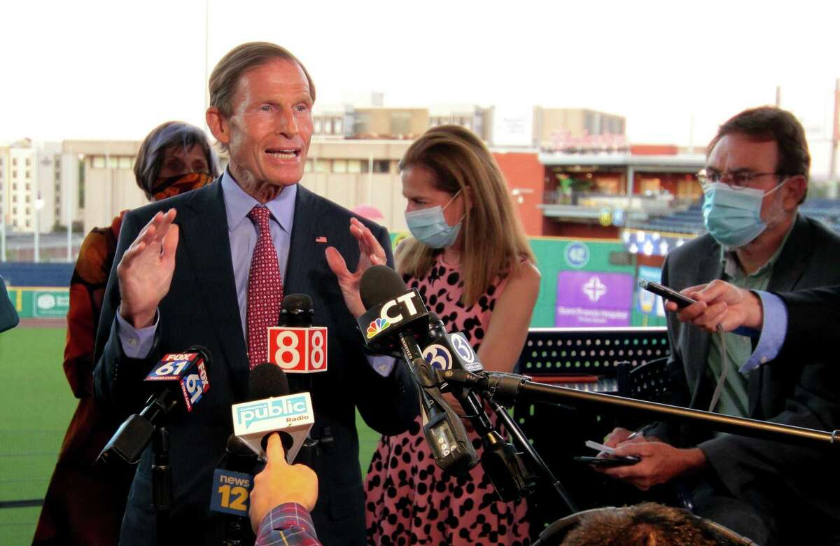 US Senator Richard Blumenthal speaks to the media during the virtual democratic convention for the nomination of Joe Biden for president at Dunkin' Donuts Park in Hartford, Conn., on Thursday Aug. 20, 2020.