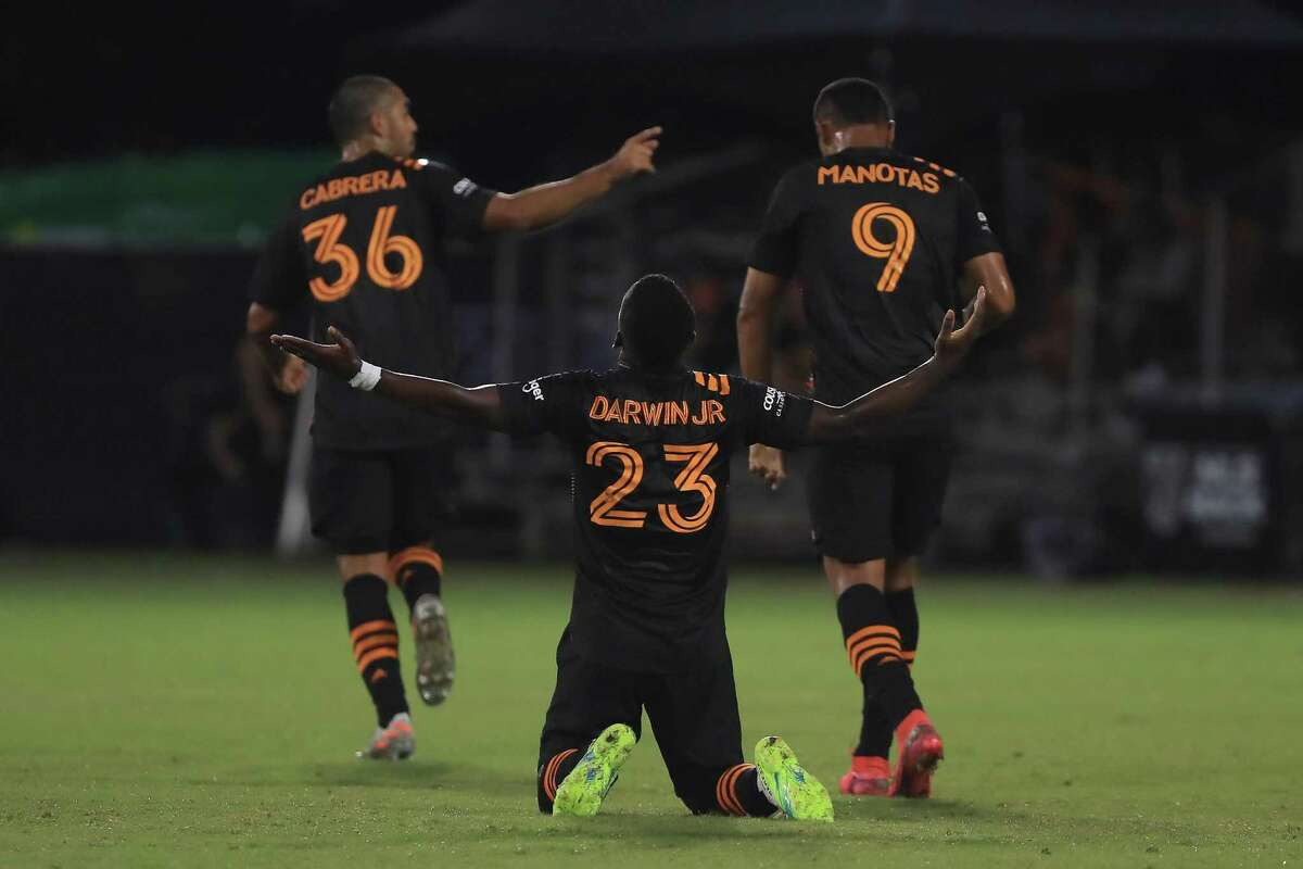 Darwin Quintero, celebrating a goal in the MLS is Back Tournament, hopes to have more reasons to cheer when Dynamo return to play against FC Dallas on Friday.