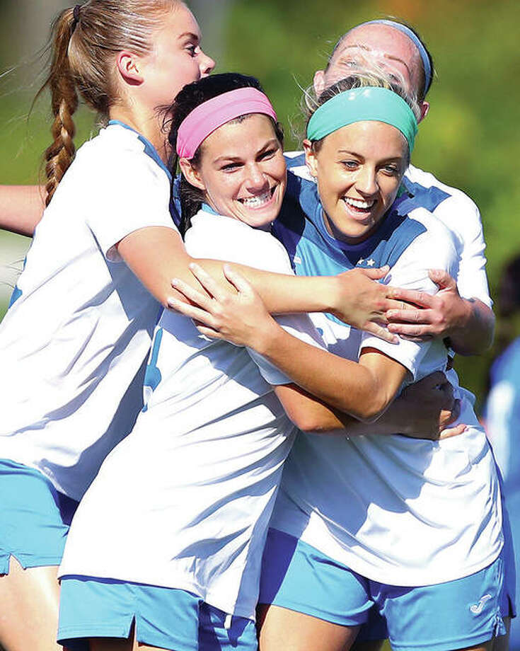 LCCC soccer players celebrate during a 2018 NJCAA Region 24 playoff game in Godfrey. Because of the COVID-19 pandemic, the NJCAA is moving fall sports to next spring. Photo: Billy Hurst | For The Telegraph