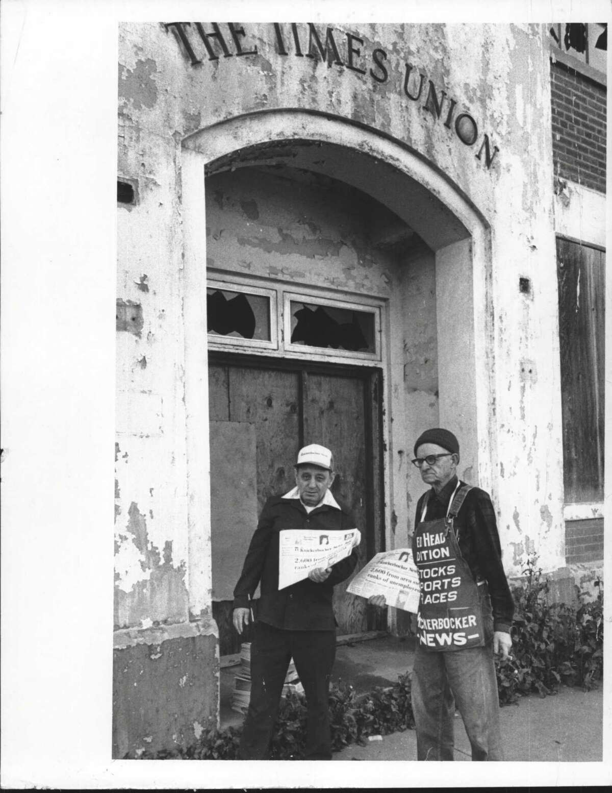 Albany, New York - Mandel Finkelstein with George Rysedorph outside old Times Union building on Sheridan Avenue. October 29, 1982 (Tom LaPoint/Times Union Archive)