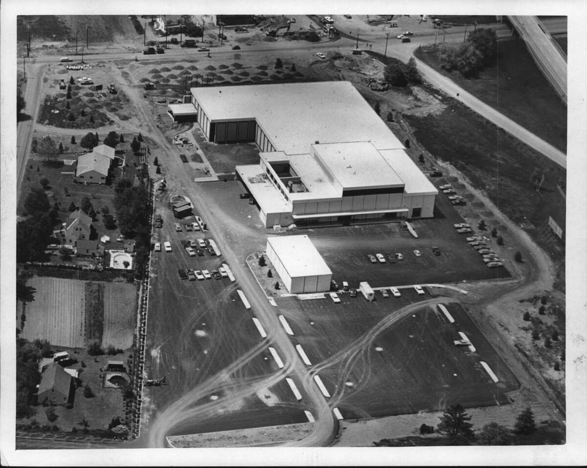 Aerial view of Capital Newspapers facility on Shaker Road in Albany, New York. October 1970 (Bud Hewig/Times Union Archive)