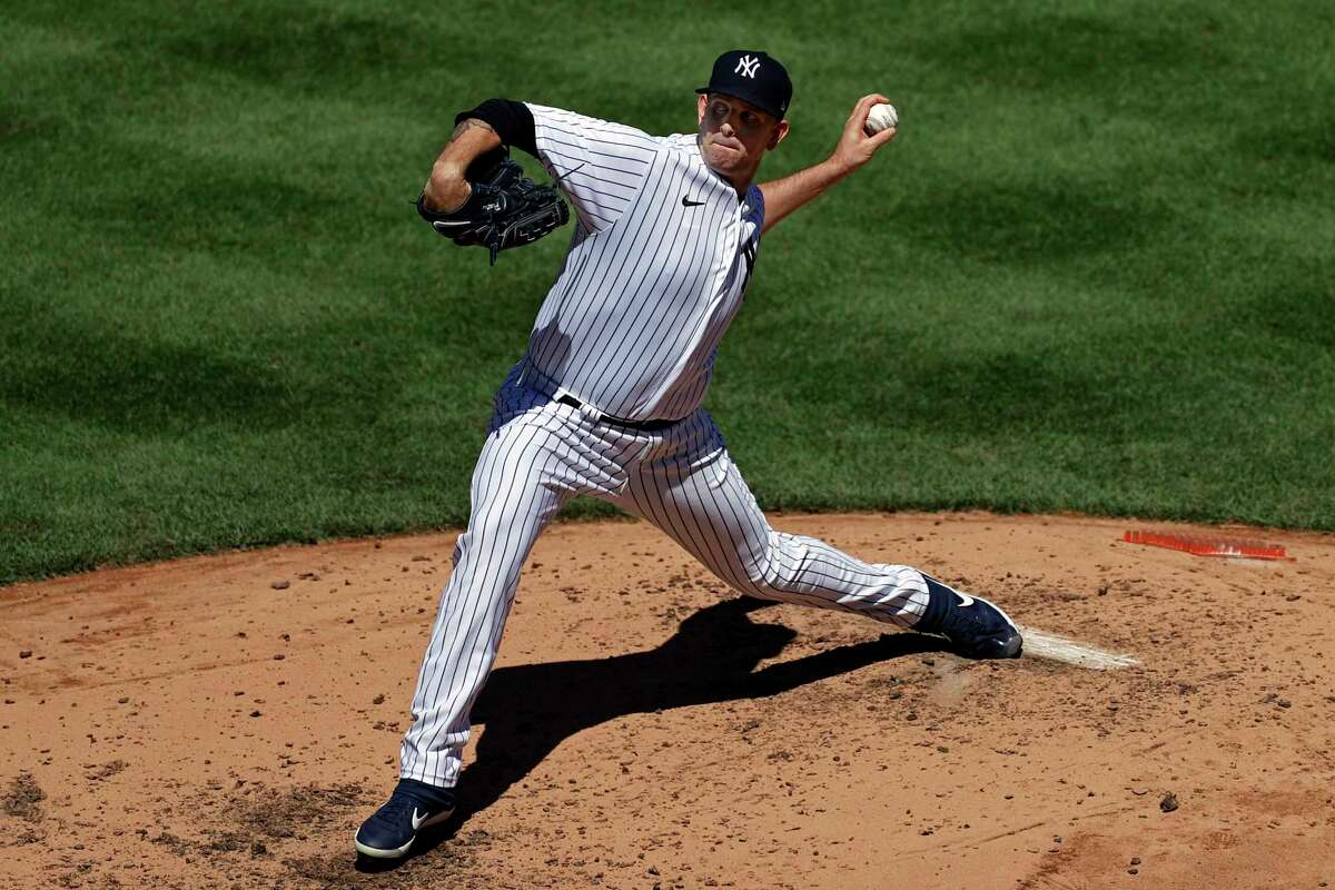 New York Yankees pitcher James Paxton delvers a pitch against the Tampa Bay Rays during the third inning of a baseball game Thursday, Aug. 20, 2020, in New York. (AP Photo/Adam Hunger)