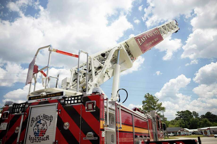 A remote controlled ladder is used during a demonstration at the East Montgomery County Fire Station 151, Thursday, August 20, 2020, in New Caney. The new fire truck will allow firefighters to control it's 107-foot longer ladder with a remote. Photo: Gustavo Huerta, Houston Chronicle / Staff Photographer / 2020 © Houston Chronicle