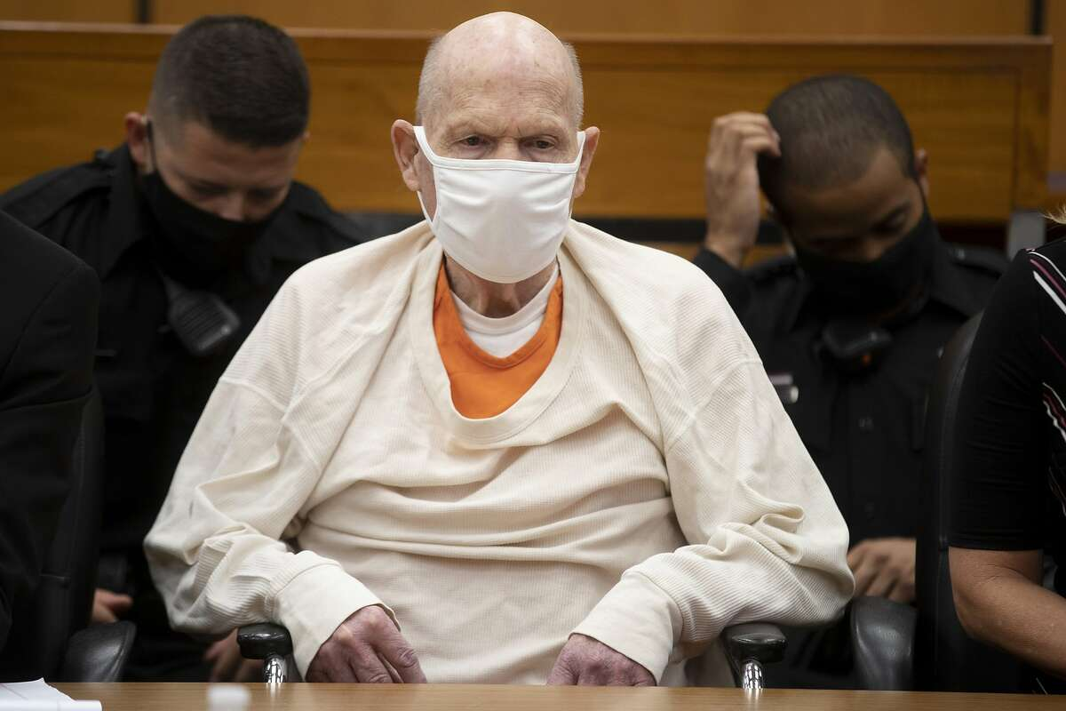 Joseph James DeAngelo sits in court during the third day of victim impact statements at the Gordon D. Schaber Sacramento County Courthouse on Thursday, Aug. 20, 2020, in Sacramento, Calif. DeAngelo, 74, a former police officer in California eluded capture for four decades before being identified as the Golden State Killer. DeAngelo pleaded guilty in June to 13 murders and 13 rape-related charges stemming from crimes in the 1970s and 1980s. (Santiago Mejia/San Francisco Chronicle via AP, Pool)