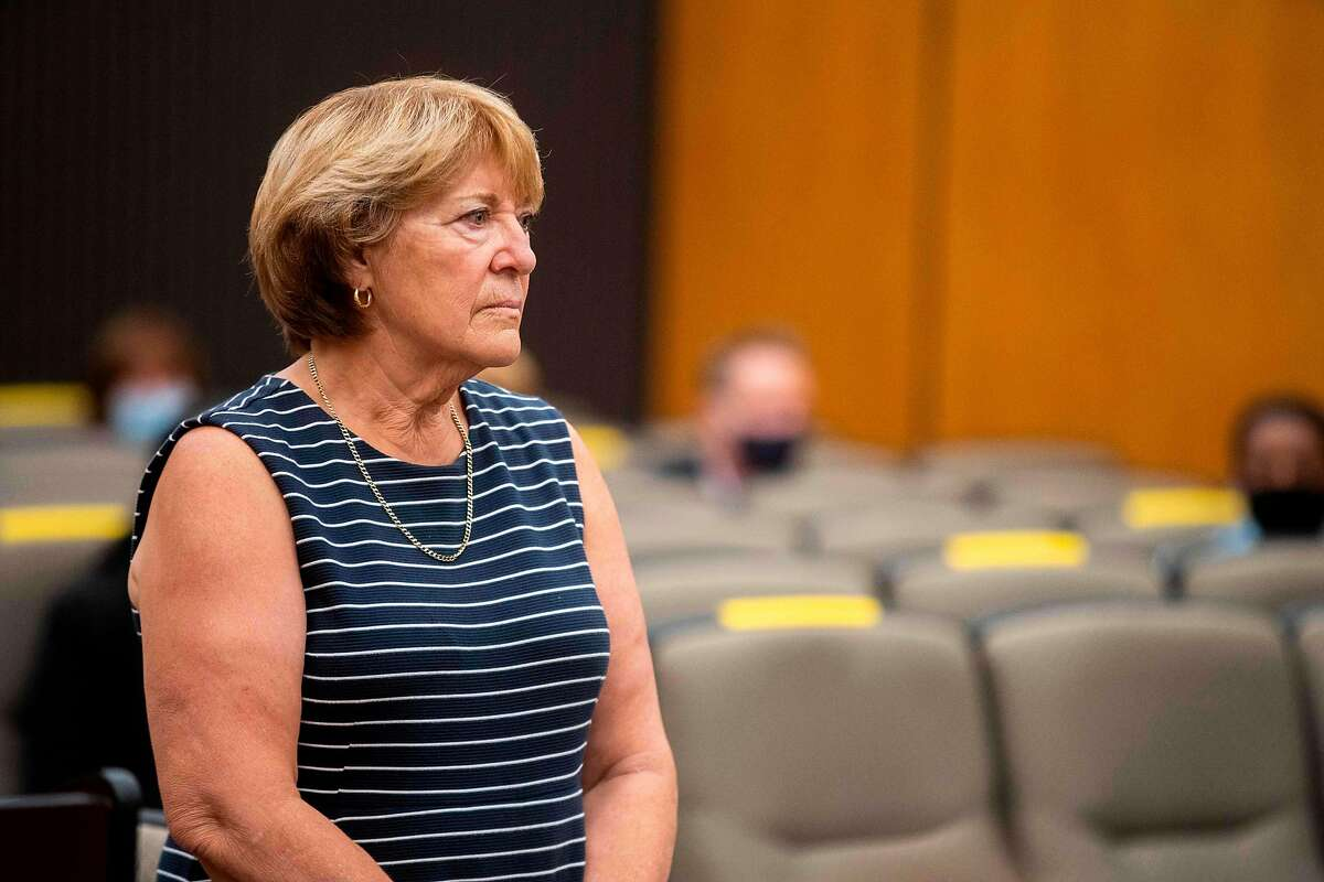 Bonnie Ueltzen looks at Joseph James DeAngelo, her former fiancee, during the second day of victim impact statements at the Gordon D. Schaber Sacramento County Courthouse on August 19, 2020, in Sacramento, California. - Dozens of women and men who were terrorized by California's 'Golden State Killer' during a sadistic decade-long crime spree finally got their day in court as they spoke emotionally of their trauma. The victims of Joseph DeAngelo Jr., a former police officer, appeared in court on the second of three days of testimonies before he is to be sentenced on Friday to 11 life terms without the possibility of parole as part of a plea deal. (Photo by Santiago Mejia / POOL / AFP) (Photo by SANTIAGO MEJIA/POOL/AFP via Getty Images)