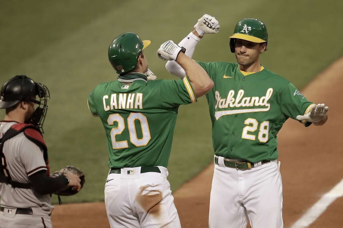 Oakland Athletics' Matt Olson, right, celebrates with Mark Canha (20) after hitting a two-run home run off Arizona Diamondbacks pitcher Alex Young in the fourth inning of a baseball game Thursday, Aug. 20, 2020, in Oakland, Calif. (AP Photo/Ben Margot)