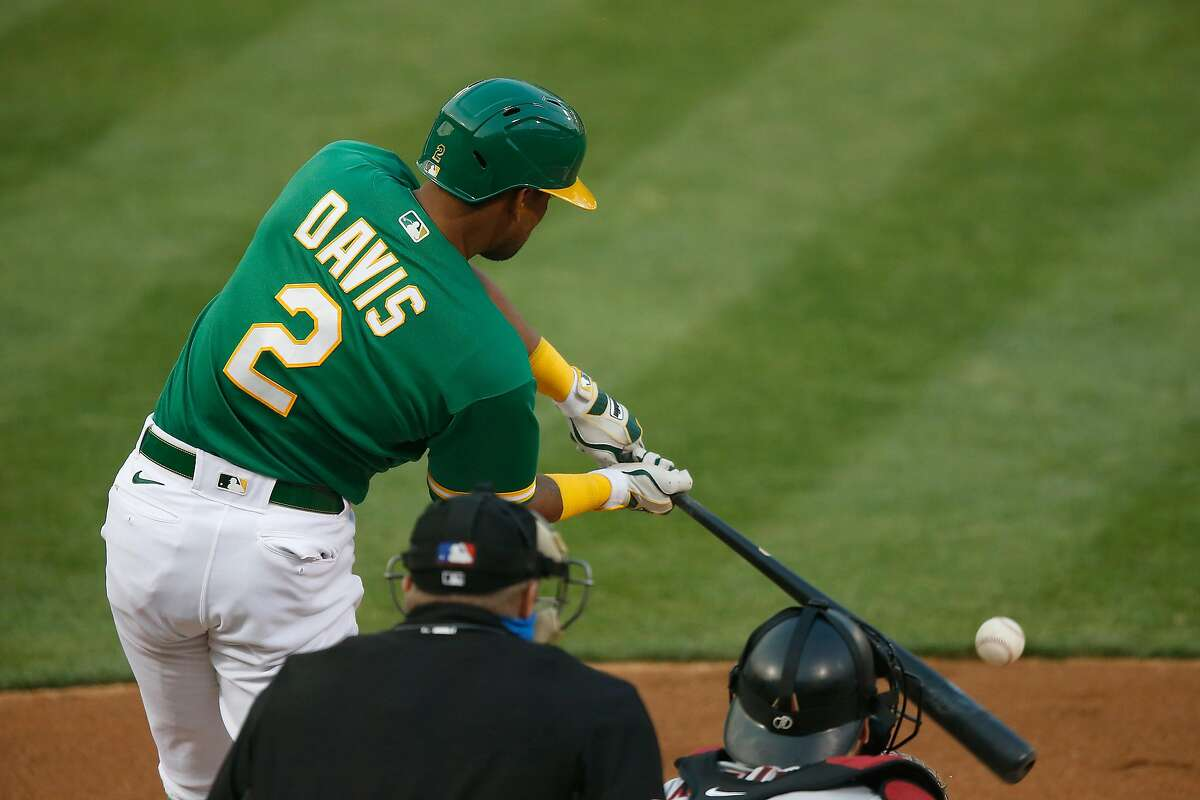 OAKLAND, CALIFORNIA - AUGUST 20: Khris Davis #2 of the Oakland Athletics hits a single in the bottom of the second inning against the Arizona Diamondbacks at Oakland-Alameda County Coliseum on August 20, 2020 in Oakland, California. (Photo by Lachlan Cunningham/Getty Images)