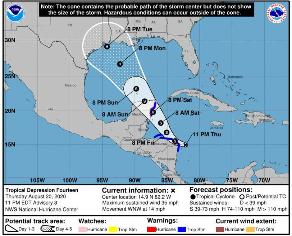 Location of TD 14 as of 10 p.m. CDT Thursday.