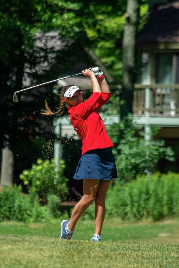Avery Chaput tees off on hole 6 on Thursday at the Traverse City Invitational. (Courtesy photo) / © 2016 Mark A. Posey