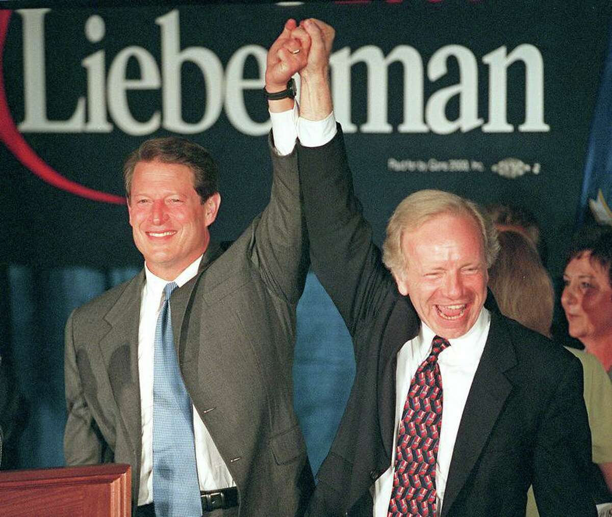 Vice President Al Gore and Senator Joseph Lieberman make a stop in Connecticut at the Italian Center in Stamford Aug. 9, 2000.