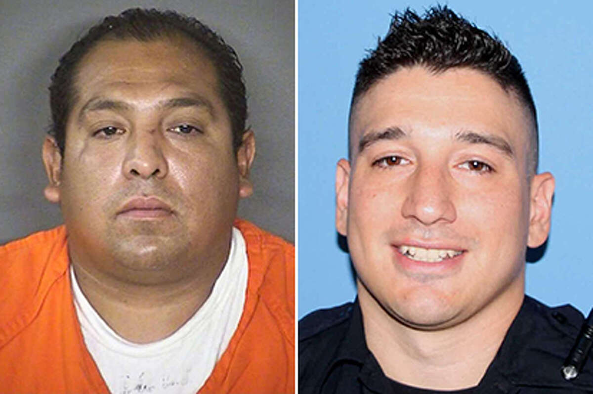Four years before he was fired for using a knee restraint on a suspect's neck, San Antonio police officer Michael Brewer (right) was involved in the death of a 41-year-old man Ernesto Carraman, left.