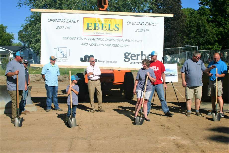 The Ebels family, along with city officials, hosted a groundbreaking ceremony to kick off construction of the new Ebels General Store in Reed City on Aug. 20. The new store will be built on the site of the former Vic's Supermarket on Chestnut Street, which closed down in 2018. Planned opening of the new store is February 2021. Photo: Pioneer Photo/Cathie Crew