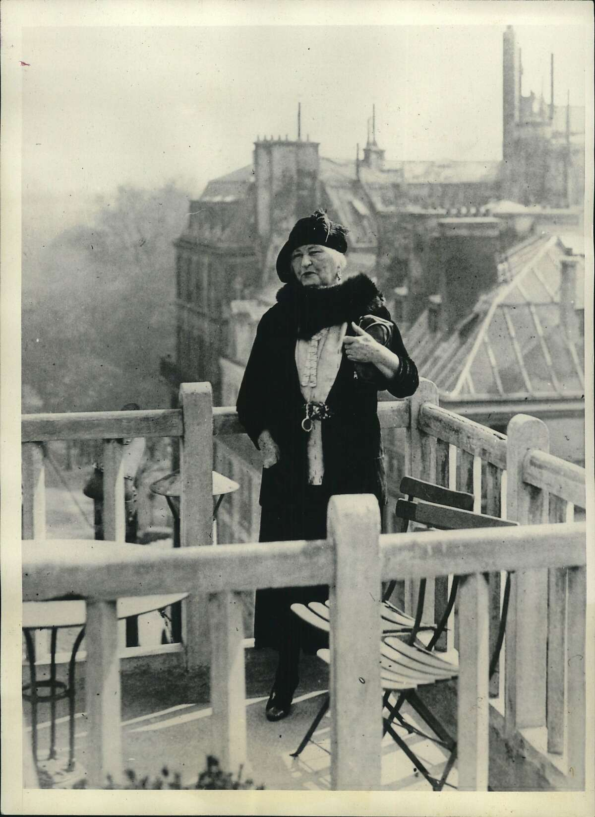 Black, Winifred. Paris, France. Mrs. Winifred Black Bonfils, well-known as the writer for Hearst Publications under the name of Winifred Black, enjoys a spring-time Glimpse of Paris on her way to Geneva where she will attend the drug conference.