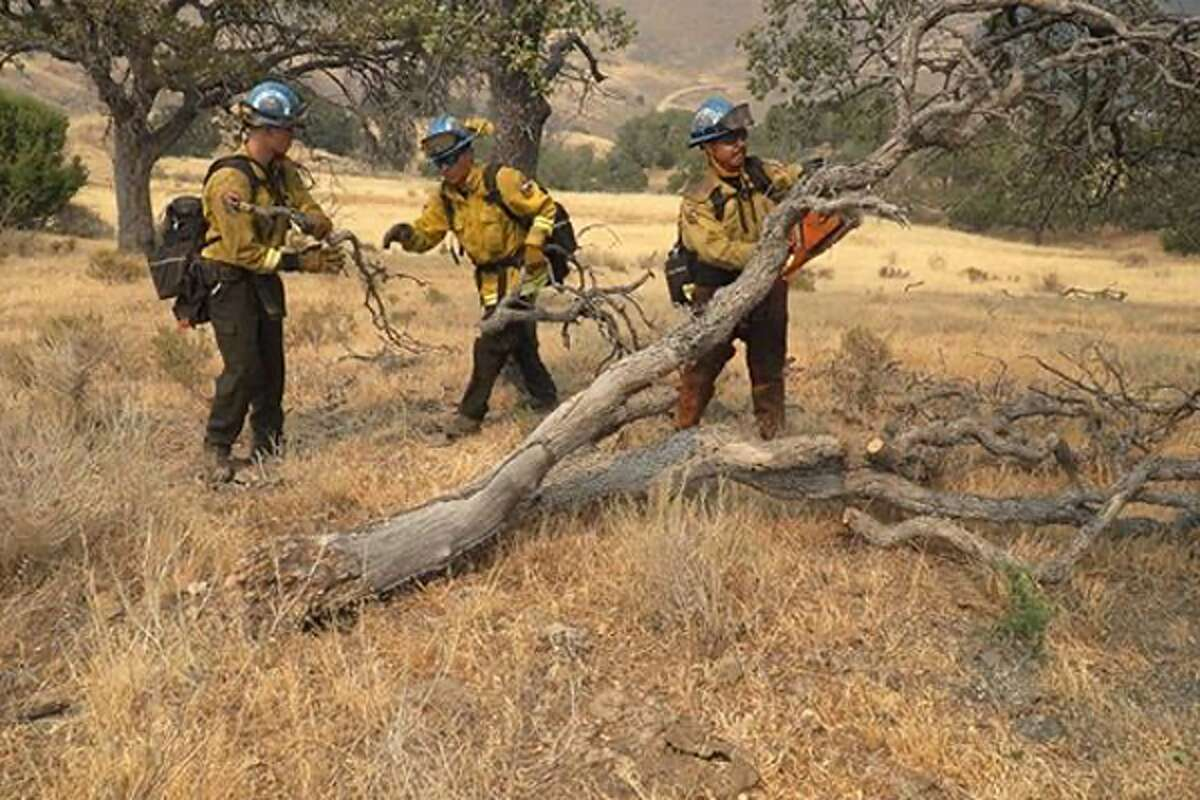 California Conservation Corps members trained in firefighting are helping to fight the SCU Lightning Complex Fire near Tracy, California. They are digging lines and back burning to help control the fire.