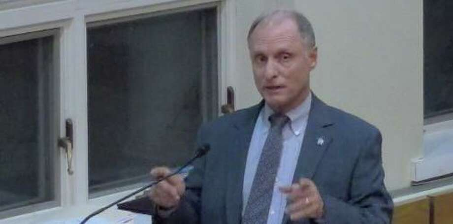 Darien Police Chief Don Anderson talking about the new police accountability bill at the Board of Selectmen meeting. Photo: Darien TV79 / Connecticut Post