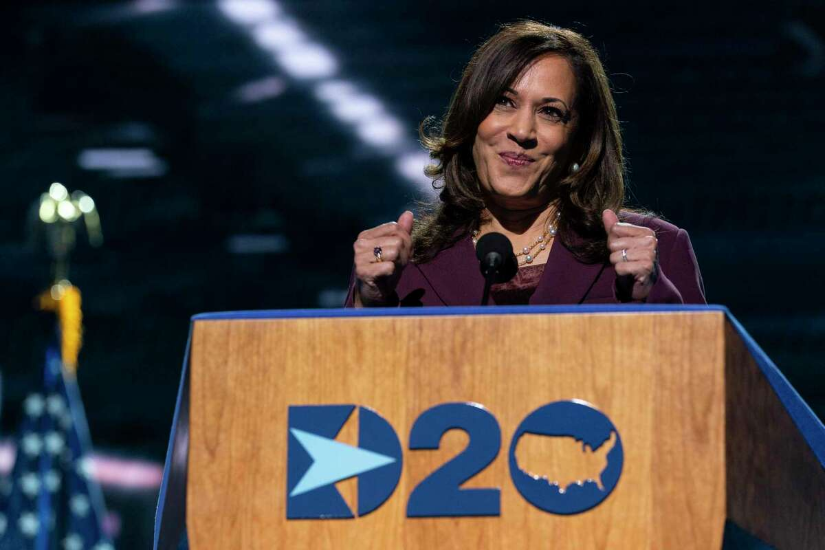Democratic vice presidential candidate Sen. Kamala Harris, D-Calif., pauses as she speaks during the third day of the Democratic National Convention, Wednesday, Aug. 19, 2020, at the Chase Center in Wilmington, Del. (AP Photo/Carolyn Kaster)