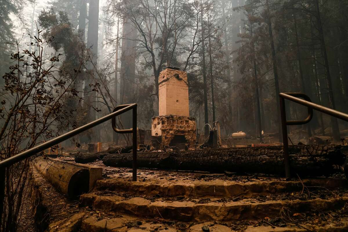 The Big Basin Redwoods State Park Headquarters & Visitor Center is burned to the ground during a blaze in Boulder Creek, Calif., on Thursday, Aug. 20, 2020.