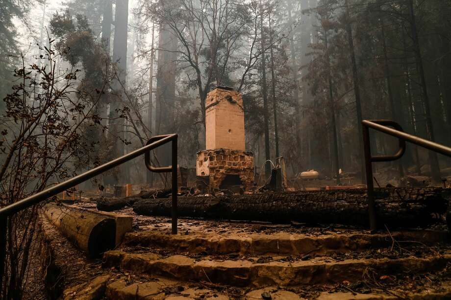 The Big Basin Redwoods State Park Headquarters & Visitor Center is burned to the ground during a blaze in Boulder Creek, Calif., on Thursday, Aug. 20, 2020. Photo: Randy Vazquez/MediaNews Group/The Mercury News Via Getty Images / Bay Area News Group