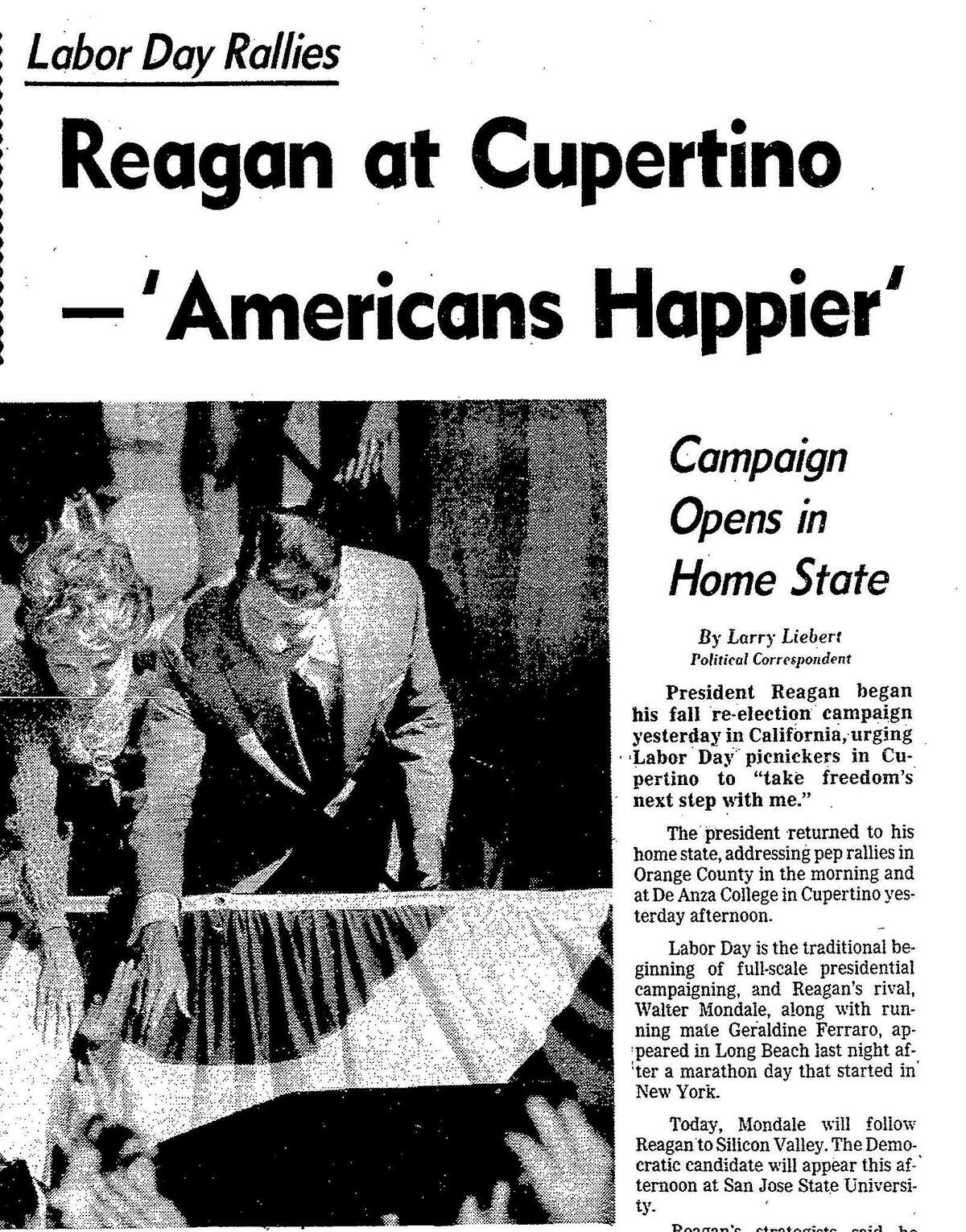 Chronicle September 4, 1984 coverage of a campaign kick-off rally for incumbent President Ronald Reagan at De Anza College
