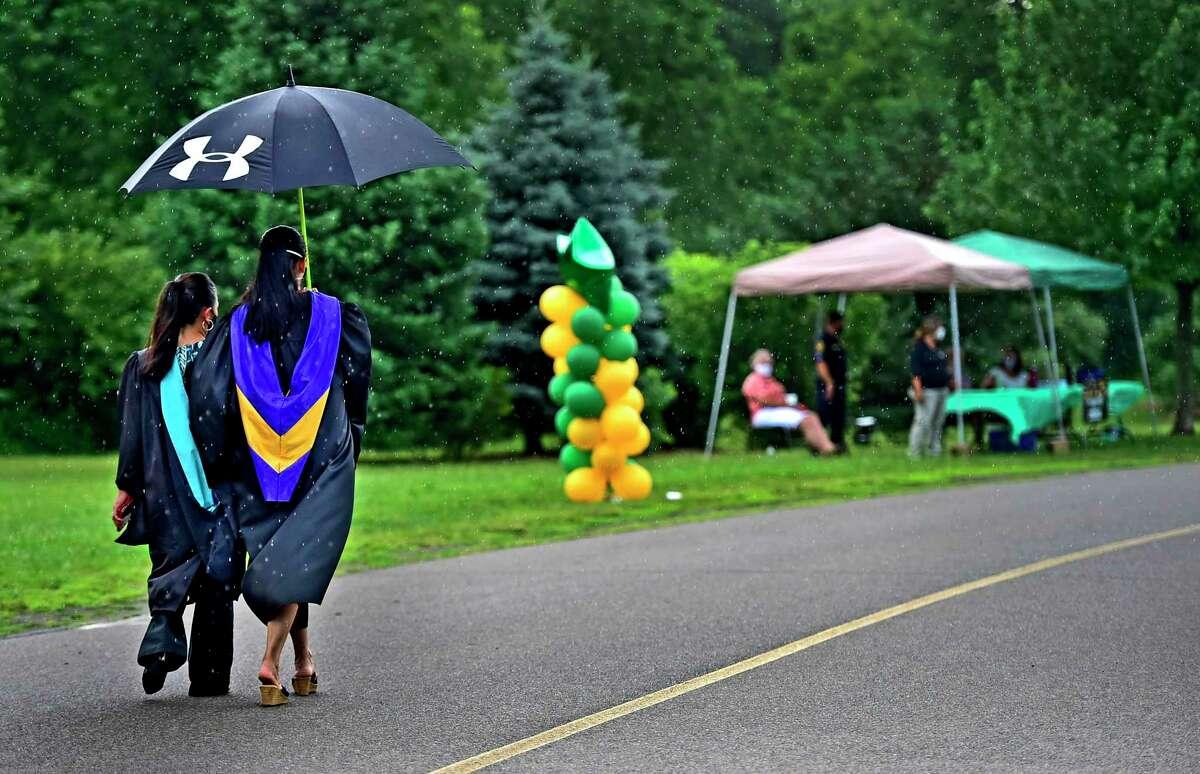 Hamden High School's drive-in graduation ceremony in June