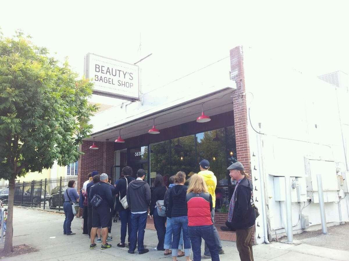 A line outside Oakland's Beauty Bagels. The shop has been bought by SF-based Wise Sons Delicatessen.