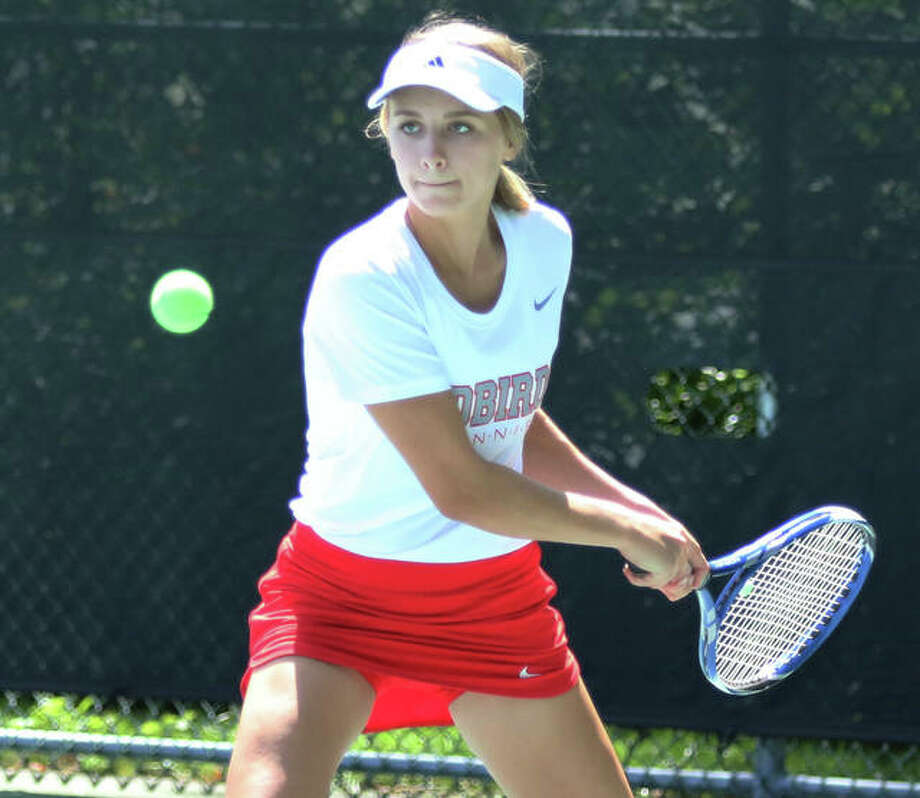 Alton's Ainsley Fortschneider and her teammates will lay host to the fourth annual Andy Simpson Tournament Saturday at 9 a.m. at the AHS tennis courts. Play will begin at 9 a.m. Photo: Telegraph File