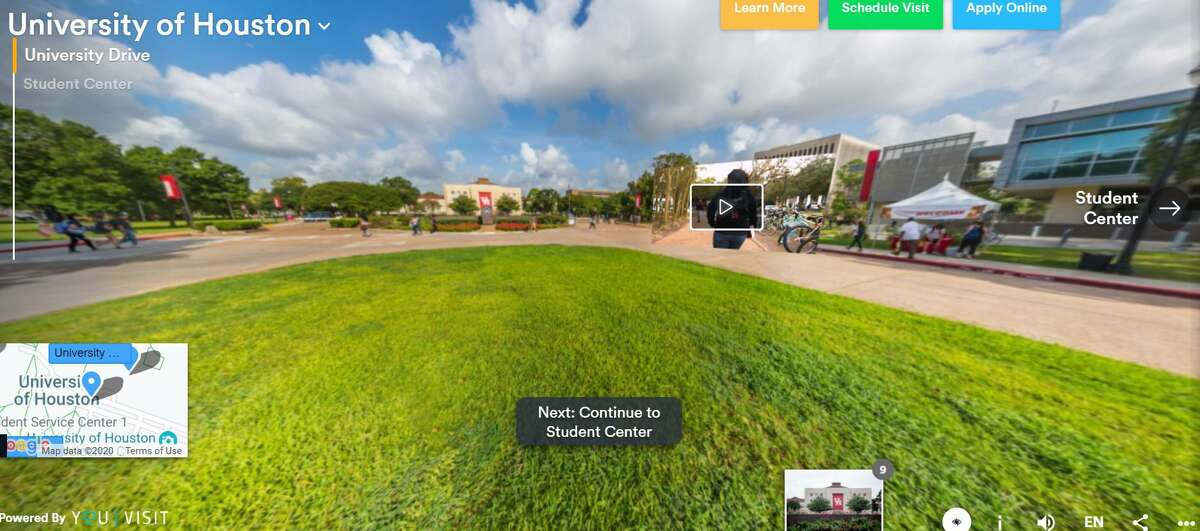 Powered by YouVisit, the University of Houston is among many Houston area colleges offering 360 degree virtual tours for prospective college students.