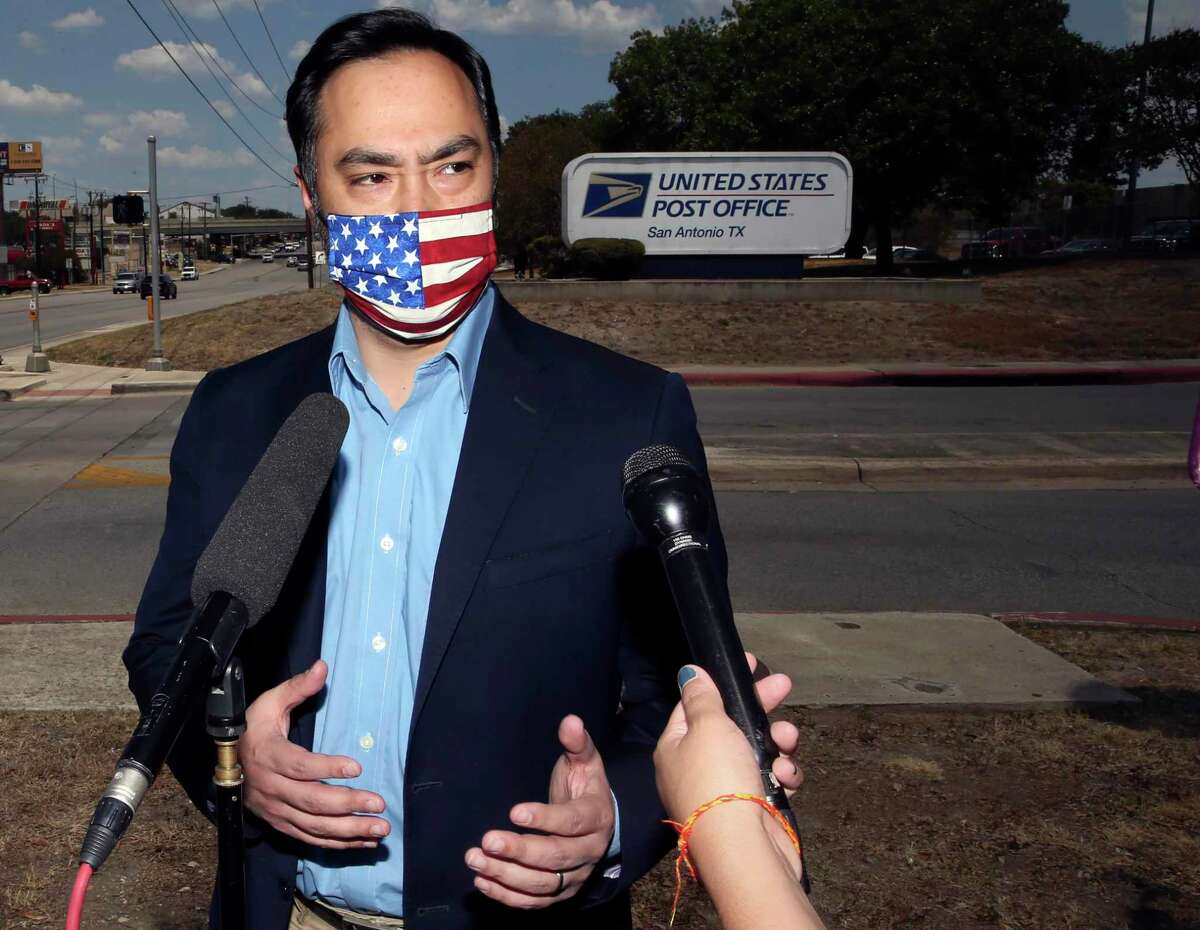 U.S. Rep. Joaquin Castro speaks to reporters after a tour of a San Antonio mail processing plant in August. Readers are concerned the Postal Service can deliver.