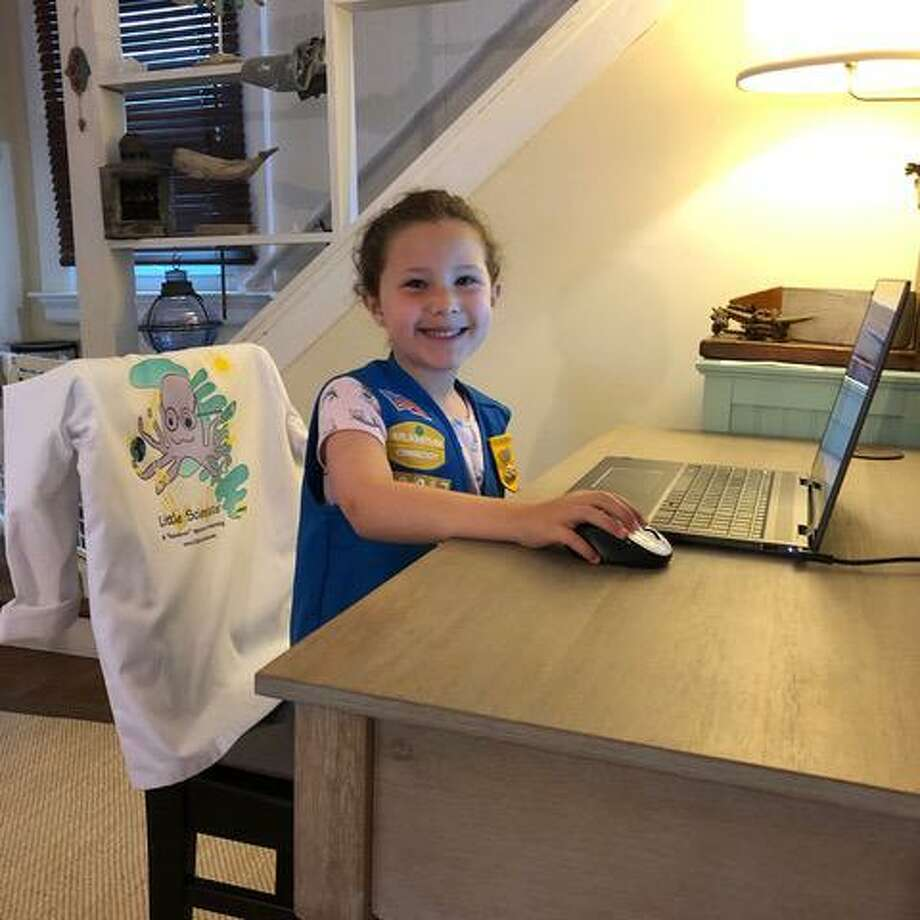 Girl ScoutEmma participates in a Little Scientists Coding course. Photo: Girl Scouts Of Connecticut / Contributed Photo
