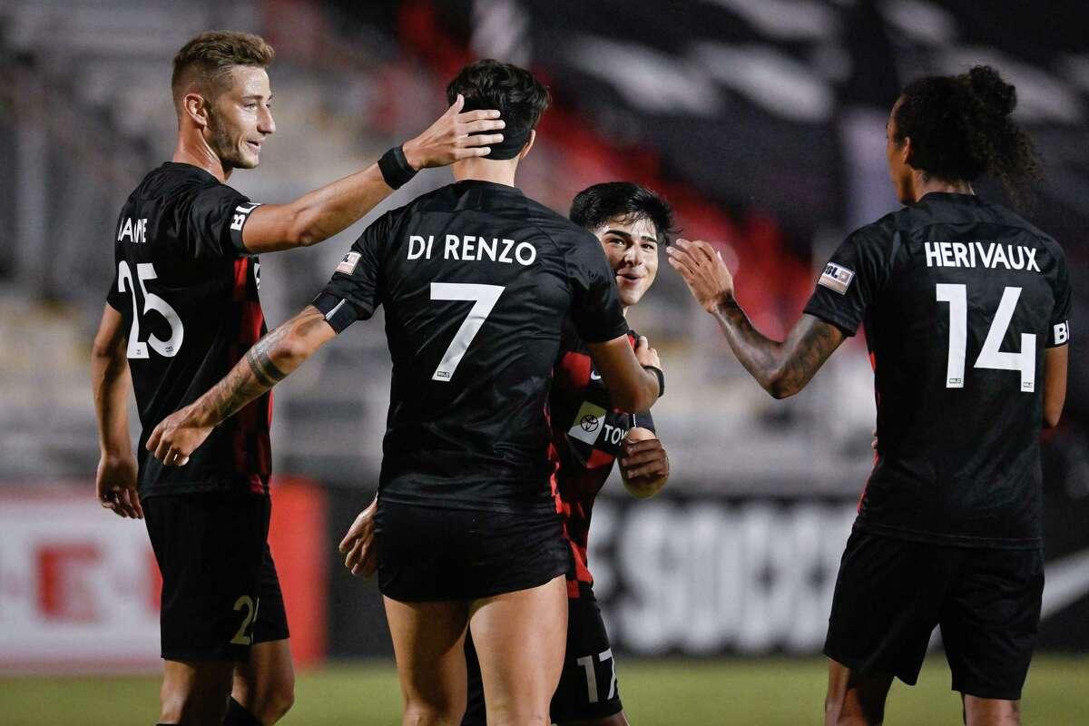 OKC Energy FC plays San Antonio FC during a USL Championship soccer match, Wednesday, Aug. 19, 2020, at Toyota Field in San Antonio, Texas. San Antonio won 4-0. (Darren Abate/USL Championship)