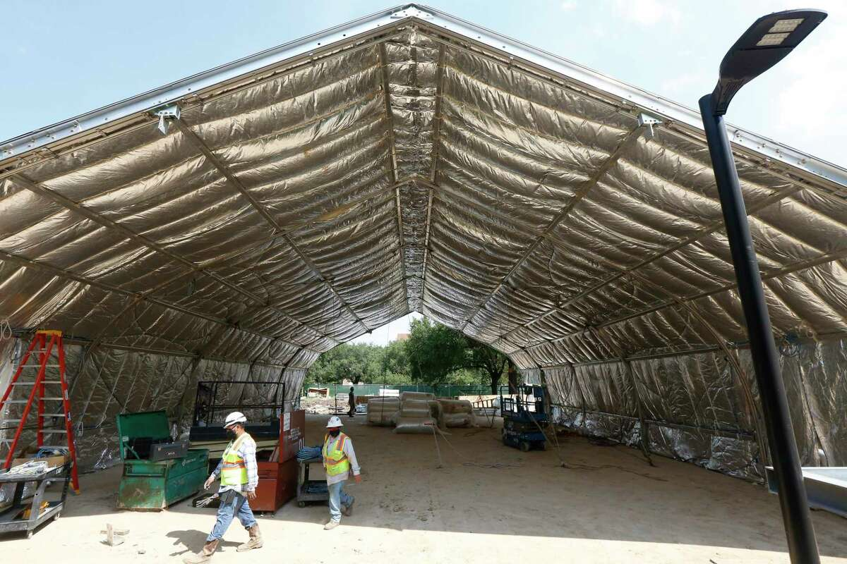 Rice University has begun constructing its semi-permanent outdoor structures on campus, which will be used to host classrooms and activities in hopes of maintaining social distancing guidelines amid the COVID-19 pandemic this fall Tuesday, Aug. 4, 2020, in Houston.