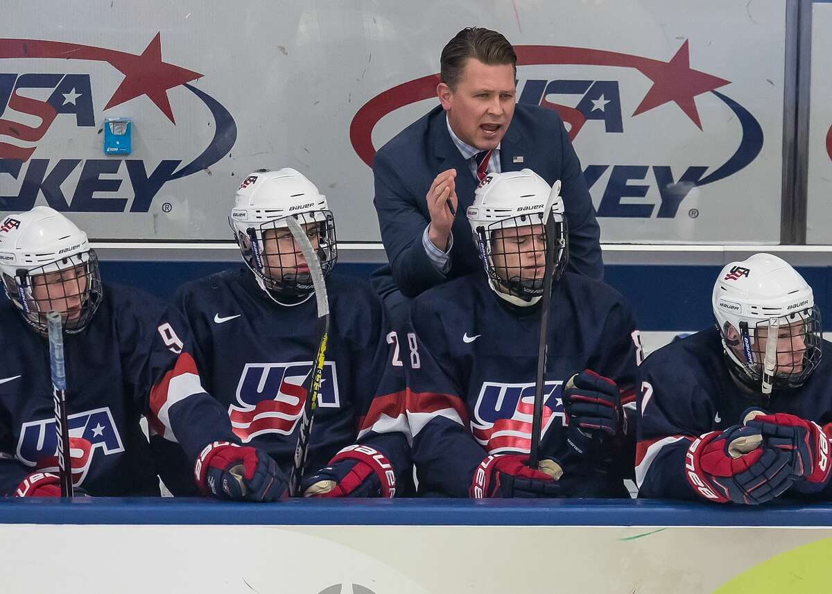 PLYMOUTH, MI - FEBRUARY 14: Head coach Seth Appert of the USA Nationals watches the action from the bench against the Czech Nationals during the 2018 Under-18 Five Nations Tournament game at USA Hockey Arena on February 14, 2018 in Plymouth, Michigan. The Czech Republic defeated the USA Nationals 6-2. (Photo by Dave Reginek/Getty Images)*** Local Caption *** Seth Appert