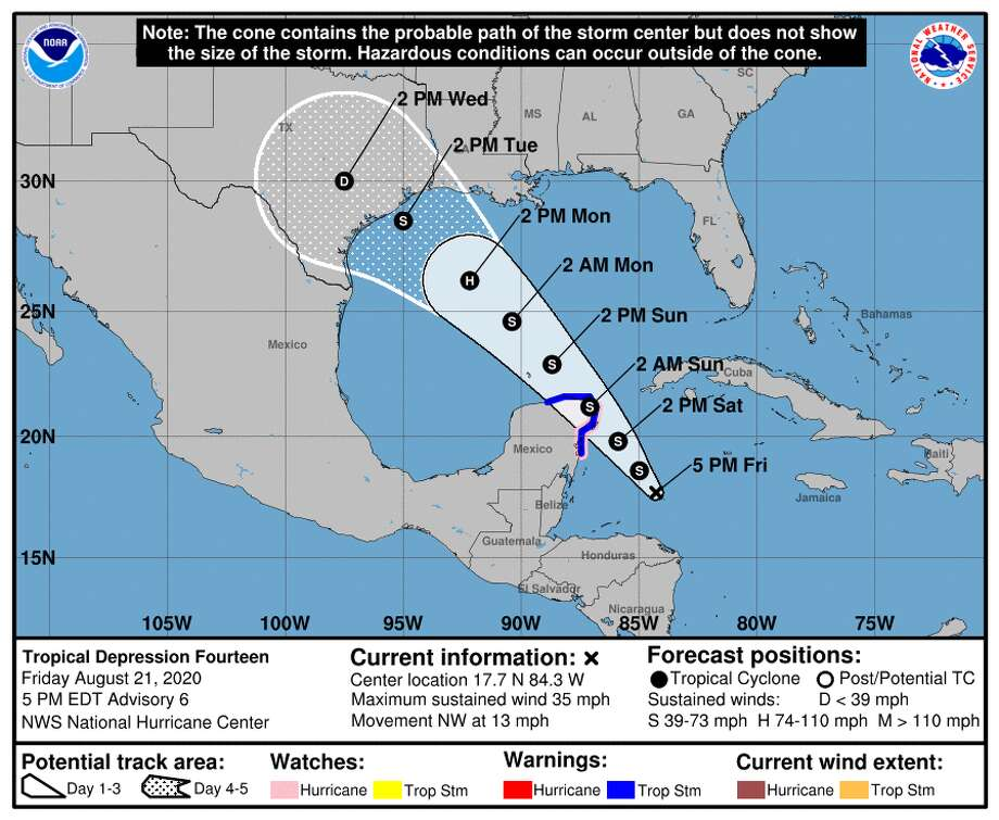 The latest projections have what is now tropical depression 14 making landfall along the Gulf coast sometime Tuesday, Aug. 25, 2020. Photo: National Hurricane Center