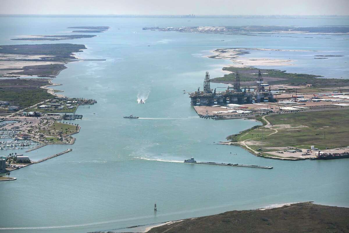 A view looking southwest at the Corpus Christi Ship Channel with Harbor Island on the right and Port Aransas on the left. A proposal to build a terminal for giant crude haulers right across from the Port Aransas Marina and city park is drawing pushback from locals. Tuesday, Feb. 25, 2020.