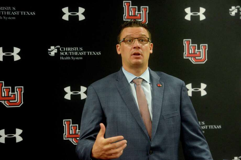 Marco Born, director of athletic at Lamar University speaks during a press conference to announce the Southland Conference decision Thursday morning to postpone fall season games unntil the spring. Lamar will now decide what, if any, non-conference games it may play this fall and are working on keeping athletes healthy, not just physically but mentally, as they deal with the changes. Photo taken Thursday, August 13, 2020 Kim Brent/The Enterprise Photo: Kim Brent / Kim Brent/The Enterprise / BEN