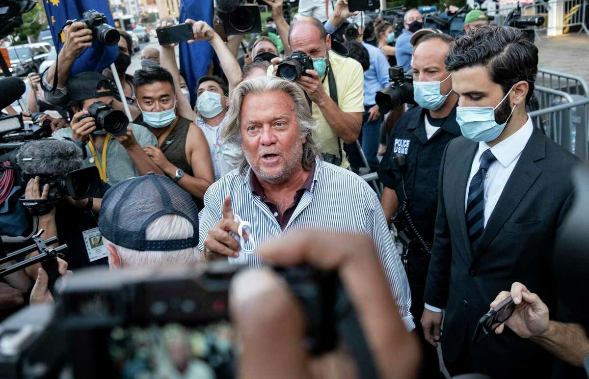 Steve Bannon leaves federal court Aug. 20, 2020, after pleading not guilty to charges that he ripped off donors to an online fundraising scheme to build a southern border wall.