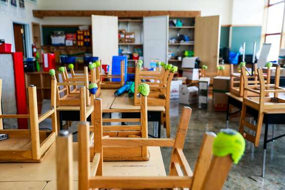An empty classroom at Sankofa Academy on the first day of school on Monday, Aug. 10, 2020 in Oakland, California.